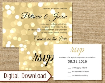 Printable Gold Bokeh Glitter Wedding Invitation, Invitation and Reply, RSVP card, Bokeh Invitation, Confetti Invitation, Gatsby Glam