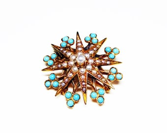 Victorian 14K Gold Pin - Turquoise and Seed Pearl Star or Snowflake Brooch - Signed 14K Victorian Pin - Estate Heirloom Jewelry