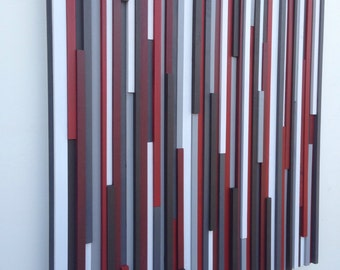 Wood Wall Art - Lines - Reclaimed 36x36 in Reds, Whites, Grays Wood Sculpture