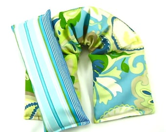 Hot Cold Pack: Neck Wrap Eye Pillow Set Gift For Her Rice Heating Pad Microwave Pack Flax Seed Gift Idea