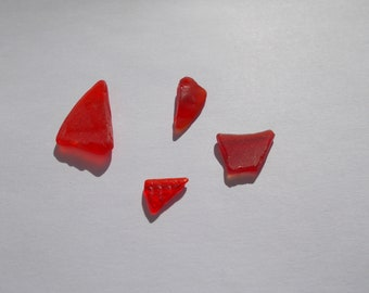 4 Small Red chipped/nicked sea  glass pieces -  pretty imperfect reds - red beach glass for mosaics arts and crafts