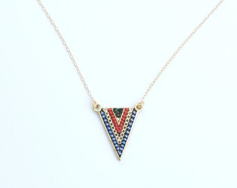 SALE - Beaded Triangle Necklace