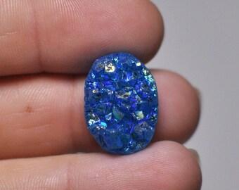 Natural Bright Blue Titanium Druzy Quartz Cabochon Gemstone Oval Shape Ring size 19x14x9 mm. 17.35 Cts.