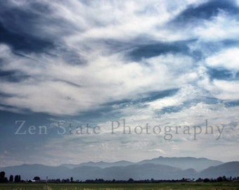 Blue and White Country Print. Summer Sky Landscape Photograph. Wheat Field Nature Photography. Large Nature Decor Fine Art Photography.