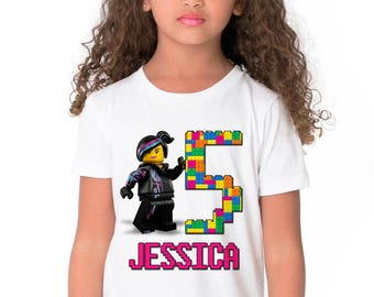 The Lego Movie Birthday Shirt Add Name & Age Lego Custom Birthday Party TShirt 04