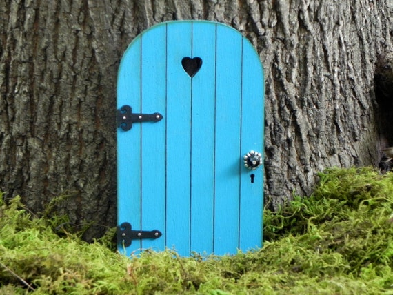 Fairy Door Fairy Garden Miniature Wood Dark Robins Egg Blue
