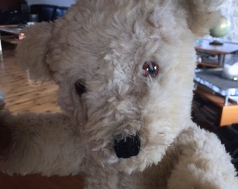 Beautiful old antique vintage white wool 1950's Chiltern Hugmee teddy bear