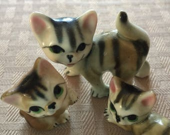 Porcelain Cat Figurines, Small, Precious Family, Momma Cat and Two Kittens, Knick Knacks for Shelf, No Nicks or Cracks