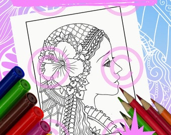 Anime Doodle Girl Coloring Page for Adult Coloring Anime in Tangle style