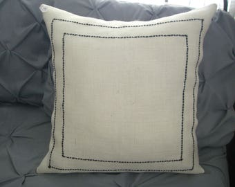 BURLAP-Yarn Complete PILLOW - DANIEL by cmk - 19 x 19 - New