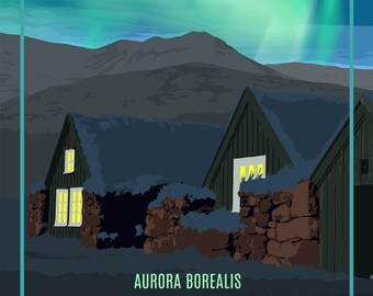 Iceland Aurora Borealis (Northern Lights) - Vintage Travel Postcard (free shipping in USA)