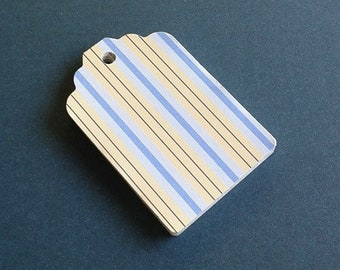 Blue and Yellow Striped Gift Tags  /  Gift Tag Set of 20