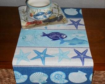 Coastal Table Runner, starfish table runner, Coastal Decor, Outdoor table runner, patio linen, Outside Table Runner, Coastal Linens