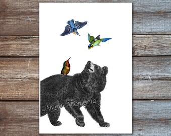 Bear art, black bear print, hummingbirds wall art