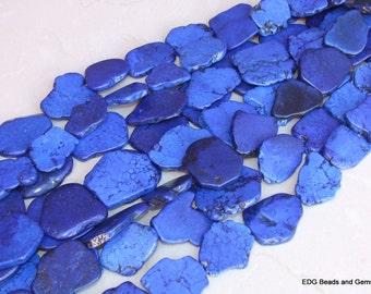 Blue Magnesite Free Form Slab Stone Beads - Lapis Blue - 15 inch Strand - 30mm x 35mm