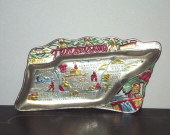 Vintage Souvenir State Metal Ashtray Tennessee