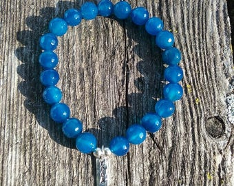 Blueberry Quartz gemstone bead bracelet