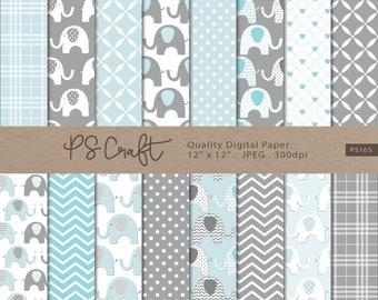 """Elephant Digital Papers, SEAMLESS """"Baby Blue & Gray"""" Elephant Background, Baby Boy Shower Paper Pack, Blue Invitation"""