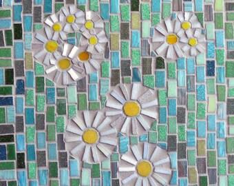 Mosaic Wall Art, Daises on Green, glass mosaic, mosaic daises, mosaic flowers, Mosaic Art