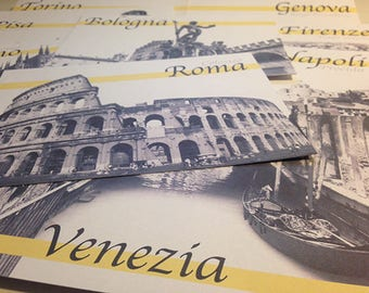 Segnatavolo per eventi e matrimoni con nomi e immagini delle città italiane