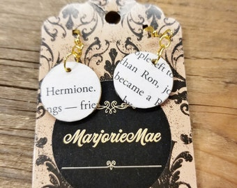 Harry Potter Book Page Earrings, Real Book Page Earrings, Hermione and Ron, Dangle Book Earrings, Book Gift, Gold, Book Nook, MarjorieMae