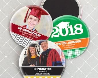Graduation Party Favor Magnets, Graduation Party Decorations, Personalized Magnet Favors, Grad Favor Magnets - Set of 24