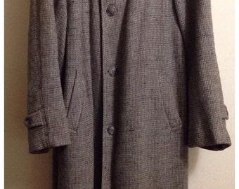 Harris Tweed Overcoat Vintage Hand Woven 100% Scottish Wool XL