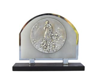 Our Lady of Assumption Medal - French Art Deco  Religious Standing Plaque  By E. Dropsy - Communion Baptism Gift Necklace