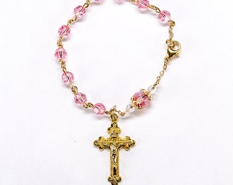 Pink Swarovski Bracelet Rosary for Catholic Women - Perfect Handmade Pocket Rosaries, Gift for Mom or Her, Gold Filled Wire