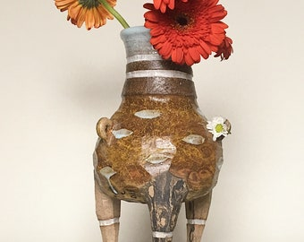 Contemporary Antiquated Inspired Ceramic Vase with Legs | Handmade Blue Dotted and Stripes Leg Vase with Marbled Clay