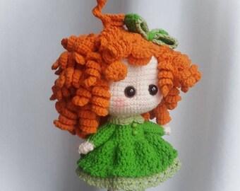 Crochet Doll Ginger Redhead Toys for Girls Amigurumi Plaything Fashion Curly Cutie