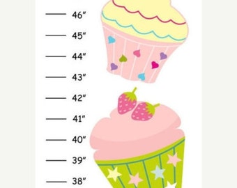 Personalized Cupcakes Canvas Growth Chart