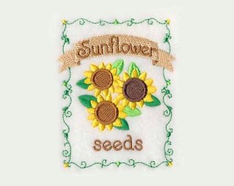 Sunflower Seed Packet Tea Towel   Personalized Kitchen   Embroidered Kitchen Towel   Embroidered Towel   Personalized Kitchen Gift