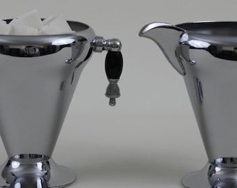 Art déco Chrome sucrier et crémier avec Tear Drop poignées Vintage en acier inoxydable et Chrome