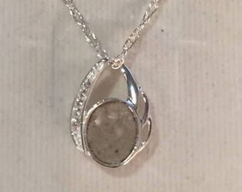 Cremation Ash Jewelry sterling silver round pendant with Cz's pendant Pet Memorial