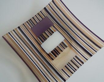 """9.5"""" x 9.5"""" Staying on the Straight and Narrow Striped Plate"""