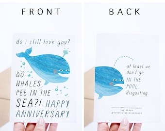 Funny Anniversary Card Printable, Funny Anniversary Cards Instant Download, Whale, Boyfriend, Girlfriend, Husband, Wife, Gay, Lesbian