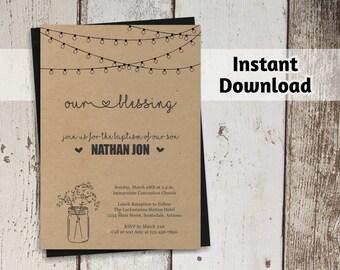 Baptism Invitation / Christening Invitation / Communion Printable Template - Rustic Mason Jar - Kraft Paper - Instant Download Digital File