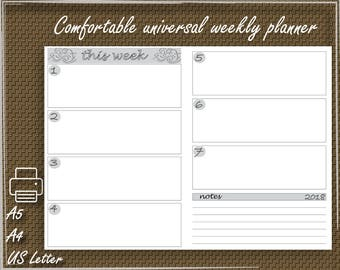 2018 planner Printable, 2018 handy, easy to use weekly planner, 2018 planner agenda, a5, a4, US Letter organizer