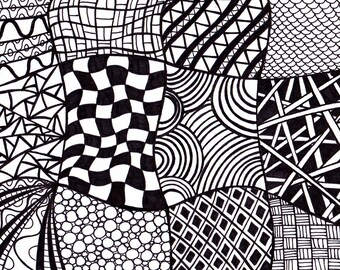 Black and White Printable Art, Zentangle Inspired Ink Drawing