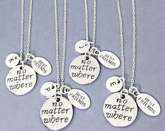 4 Friends Gift, no Matter Where Distance Jewelry Friendship Distance Gifts BFF Best Friend Distance Necklaces Personalized Necklaces Long