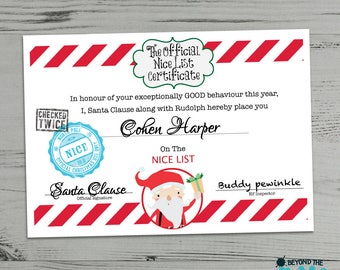 Christmas Certificate Personalised From Santa Clause - Father Christmas - Nice List