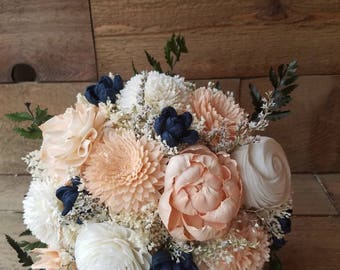 Custom Peach and Navy Sola Wood Flower and Burlap Rose Bouquet dried Flowers Peony Ferns Flower girl Toss Bridal Bridesmaid Style 72