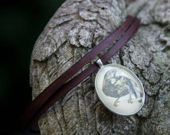 Leather Crow Cabochon Choker