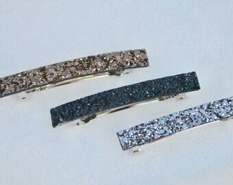 medium black glitter hair clip