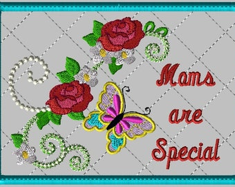 """Machine Embroidery Design-ITH-Mug Rug-""""Moms are Special"""" with Butterfly and Roses includes 2 sizes, 5x7 and 6x10 hoops"""