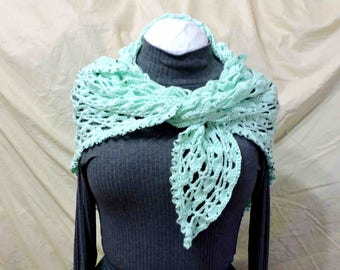 Hand Crocheted Mint Green Shawl With Glass Beads In Triangular Shape