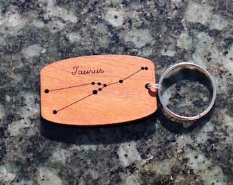 Taurus zodiac constellation urban wood keychain // birthday gift // mothers day