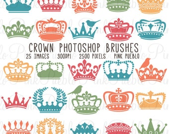 Crown Photoshop Brushes, Crown Silhouettes Photoshop Brushes - Commercial and Personal Use
