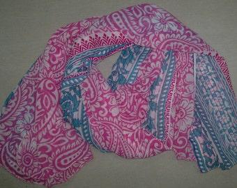 Long Scarf Indian Sari Scarf Paisley Scarf Pink White Scarf LSF0